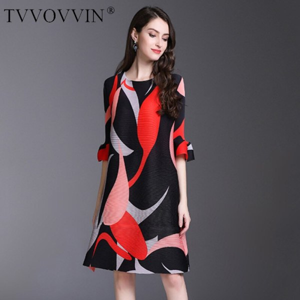 TVVOVVIN 19 New Pleated For Women Flare Half Sleeve Printed Dress Female High Quality Clothing Vestido E004