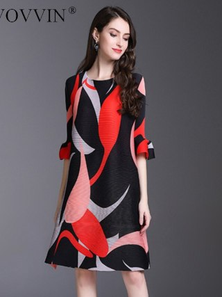 TVVOVVIN 19 New Pleated For Women Flare Half Sleeve Printed Dress Female High Quality Clothing Vestido E004