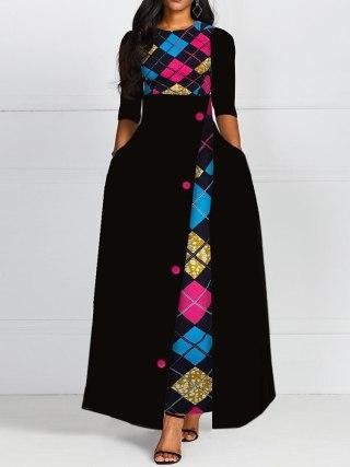 Autumn Winter Women Black Long Dress Elegant Print 19 African Vestido Vintage A Line Plus Size Half Sleeve Party Dresses Black