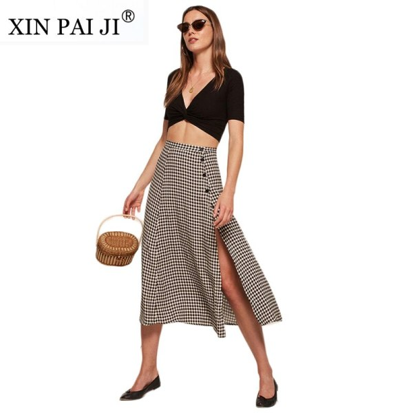 XIN PAI JI Vintage Apparel Plaid Split Side Women Sexy Skirt Button Fitness Midi Skirt Casual Elegant High Waist A-line Skirts