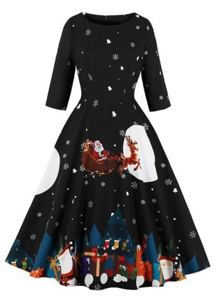 Christmas Dress Women Festival Santa Claus Print Autumn Winter Vestidos Robe Plus Size Half Sleeve Zipper Vintage Party Dresses