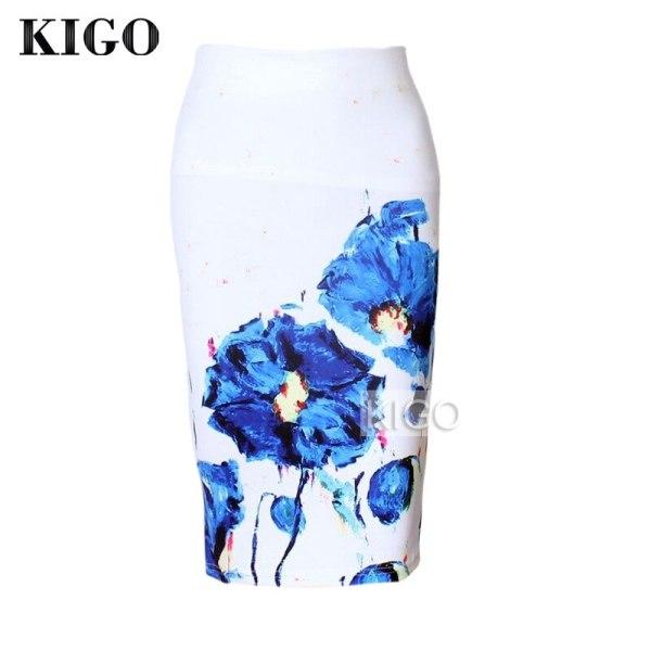 KIGO Womens Pencil Skirts Floral Print Sexy Slim High Waist Women Bodycon Skirt Ladies Vintage Midi Skirt Jupe Femme KD2967H