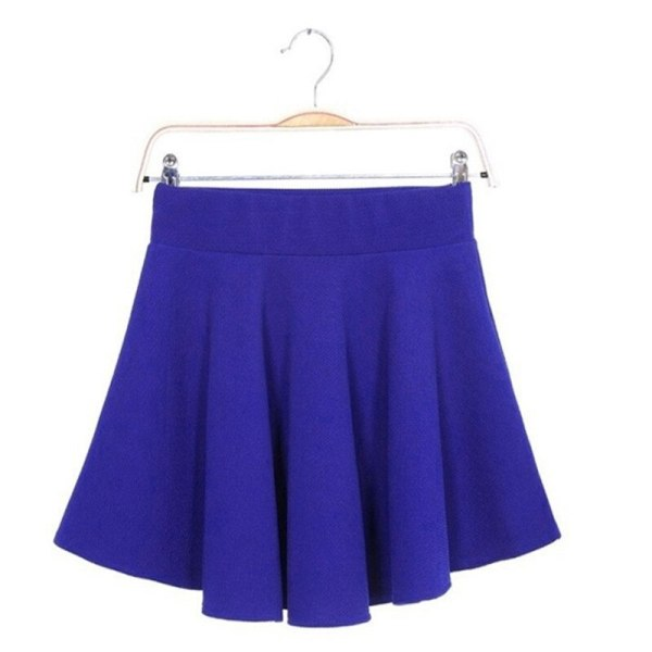 16 Summer Women Candy Color Stretch Waist Plain Skater Flared Pleated Mini Skirt Womens SolidBlue Short Skirts Wholesale