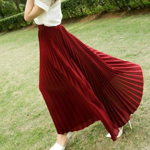 17 Summer New Fshion faldas Korean Style Big Swing Maxi Skirts Womens Summer jupe High Waist Adult Long Chiffon tulle skirt
