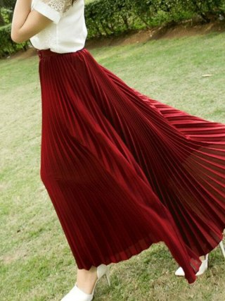 17 Summer New Fshion faldas Korean Style Big Swing Maxi Skirts Womens Summer jupe High Waist Adult Long Chiffon tulle skirt