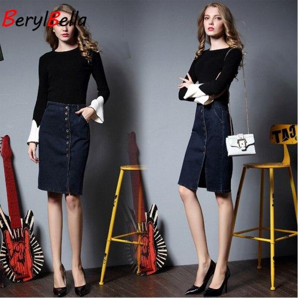 BerylBella Spring Women Skirt Casual Summer Style Ladies Skirts Blue Plsus Size S-6XL Stretch Denim Skirt Femininas Jeans Skirt
