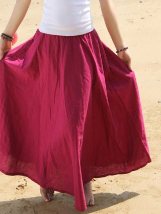 Free Shipping 18 Fashion Women Summer Spring New Linen Cotton Long Maxi Skirt Elastic Waist Bohemian Beach A-line Ladies Skirt