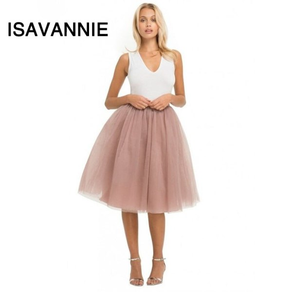 Isavannie Puffy 5 Layers Tulle Skirt Hidden Zipper Style High Waisted Midi Skirts Womens Pleated Skirt Faldas Saias Premium Sewn