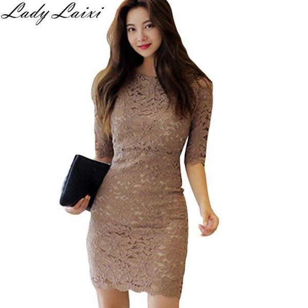 19 Summer New Sexy Lace Dress Women bodycon Sheath Pencil Dresses Half Sleeve Mini office work Vestidos