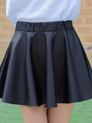Danjeaner PU Autumn Winter Skirts Women 17 High Waist Black Slim Mini Waterproof Pleated Skirts Female Casual Leather Skirt