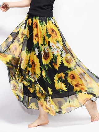 New Fashion 18 Women's BOHO Elegant Florals Print Chiffon Long Skirt Ladies Slim High-Waist Elastic Waist Pleated Skirts SK15