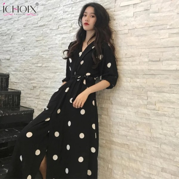 Half Sleeve Summer Women Dress Korean Style V-neck Ladies Evening Party Long Dress Vintage Elegant Dot Dress 19 robe femme