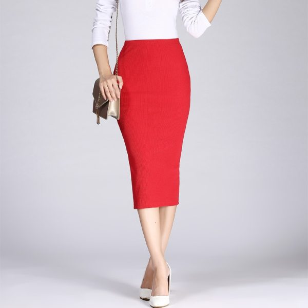 19 Spring Autumn Long Pencil Skirts Women Sexy Slim Package Hip Maxi Skirt Lady Winter Sexy Chic Wool Rib Knit midi Skirt Saia