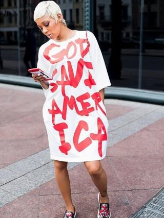 Letter Print White Casual Dresses for Women Fashion Rock Half Sleeve Loose Everyday Dresses Knee Length Oversized T Shirt Dress