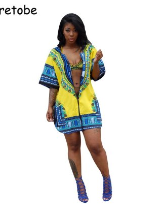 Tsuretode Summer African Print Cardigan Plus Size Dress Women Loose Casual Split Beach Dress Half Sleeve Shirt Vintage Dress
