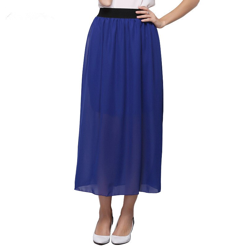 17 Women Casual Candy Colors Chiffon Tulle Skirts Fshion Sexy Elastic High Wasit Summer Long Skirts Ladies Maxi Skirt Saia