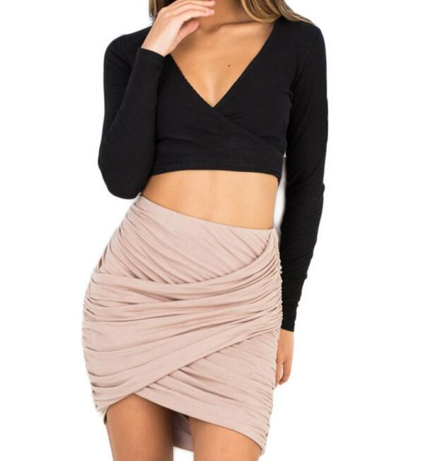 Black,Pink,Gray Fashion Apparel Pencil Skirt Women 8 Colors High Waist Ruched Mini Skirt Faldas Sexy Cross Fold Bodycon Skirts