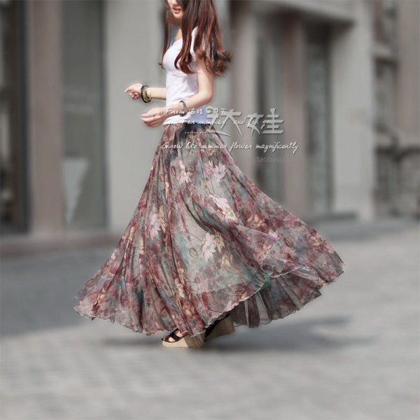 Spring and summer chiffon bust skirt full beach skirts expansion bottom tulle