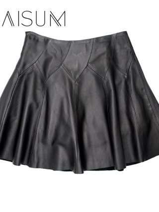 Haisum Hot Sale New Knee-length Casual Women Leather Skirt 18 Genuine Plus Size Pleated Skirts Solid Sheepskin Lady For Le021