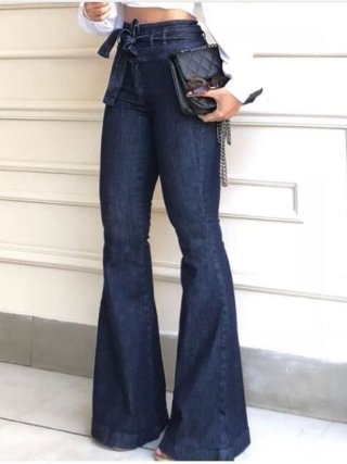Streetwear High waist Lace Up Flare Pants Jeans for Woman Fashion Full Length Wide Leg Pants Female 2020 Fashion Clothing tide