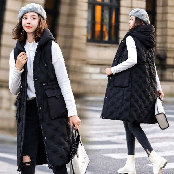 Autumn winter vest women 2019 cotton-padded warm thicken long woman vest female hooded parka jacket waistcoat plus size