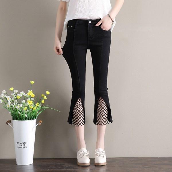 High Waist Jeans Woman Ankle-length Denim Pants Plus Size Women Flare Jeans Blue Black Vintage Pants Baqueros Mujer AC041