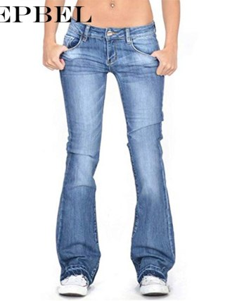 WEPBEL Ladies Denim Trousers Women Flare Jeans Casual Mid Waist Bell Stretch Slim Pants Length Jeans