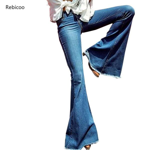 Rebicoo Women Flare Jeans Female Casual Slim Stretch Fashion Ladies Vintage Washed Skinny Long Denim Pants Spring Autumn