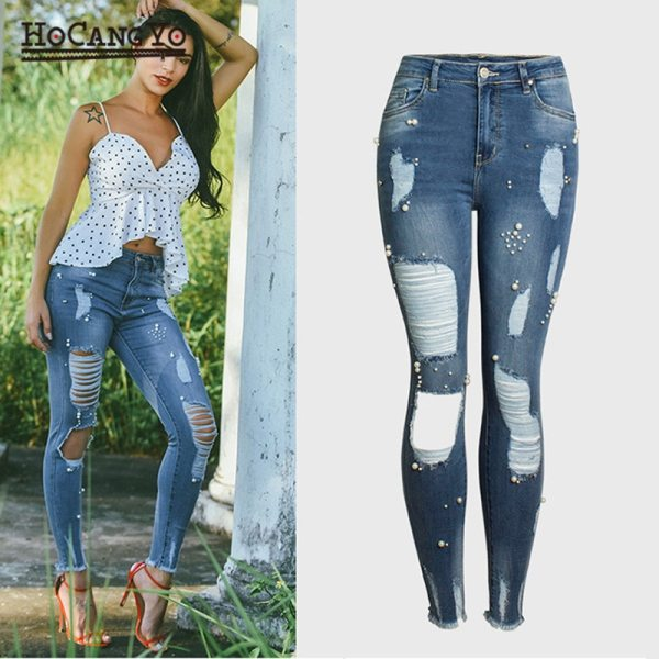 HCYO Women Jeans Pants Plus Size Stretch Embroidered Flares Washed Hole Jeans Women High Waist Pants Female Skinny Denim Pants