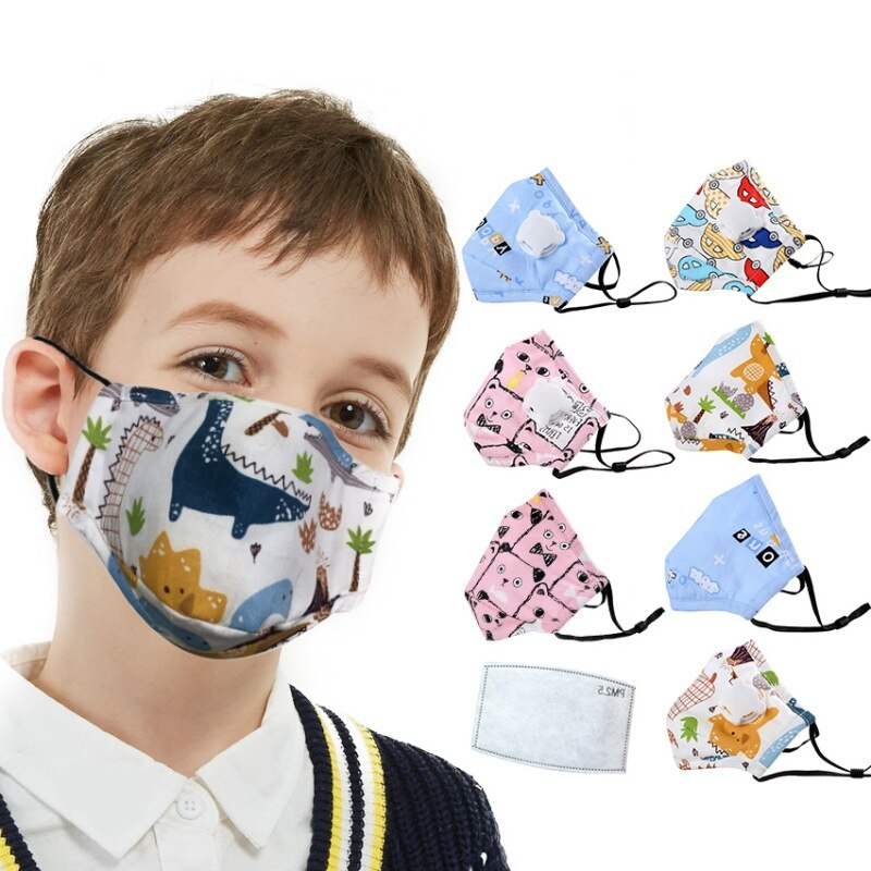 1PC Children Mask With Breath Design Replaceable Filter Anti Dust Mouth Mask PM2.5 Respirator Kids Face Mask