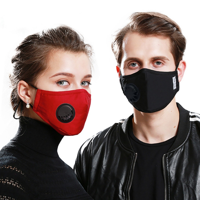 AntiDust PM2.5 Mouth Mask With 2 Replaceable Filters Anti Pollution Breathable Cotton Face Mask Washable Respirator Mouth-muffle