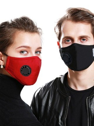 A Cotton Face Mask Breath Valve PM 2.5 Mouth Mask Anti-dust Activated Carbon Mask With Filter-Washable Reusable respirator