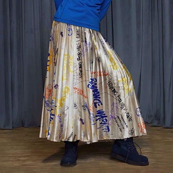 Winter New Assortment graffiti print lengthy pleated skirt girls