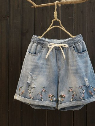 New summer women elastic waist straight short jeans