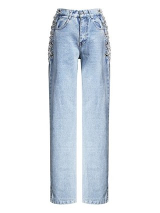 Excessive Waist Facet Hole Out Chain Straight Denims Pant