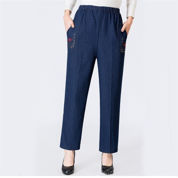 Jeans Blue Loose High Waist Jeans New Spring Korean Embroidery Pockets