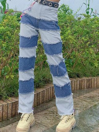 Hight Waist Denim Free Lengthy Pants Vogue Jeans
