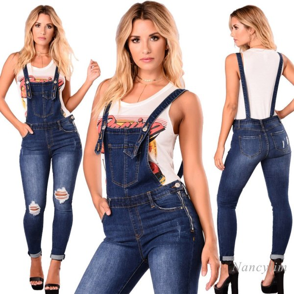 Overalls Denims Ladies New European and American Ripped