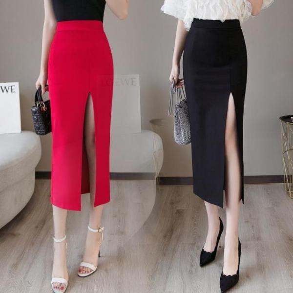 Wrap Feminine Attractive Cut up Excessive Waist Midi Skirt