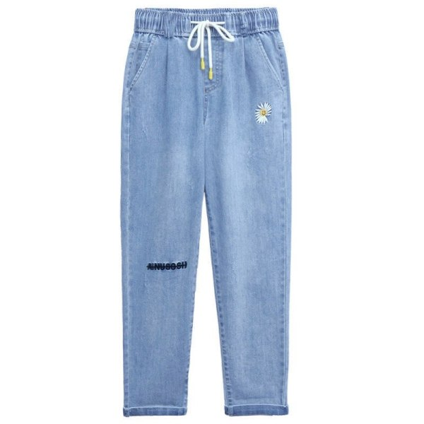Summer time Ladies Daisy Embroidery Tencel Denims Jeans