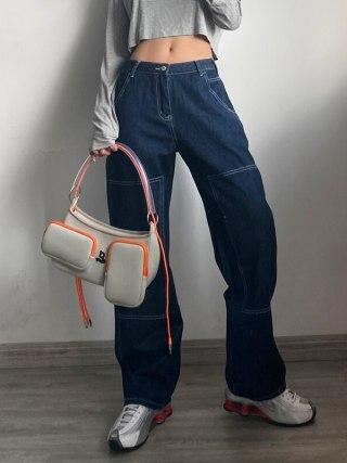 Ladies Excessive Rise Distinction Stitching Straight Leg Jean