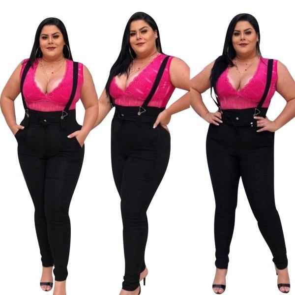 5XL Girls Denims Jumpsuit Informal Excessive Waist Overalls