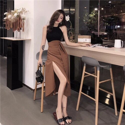 Womens Open Facet Cut up Waistband Bow Ladies Skirt Style