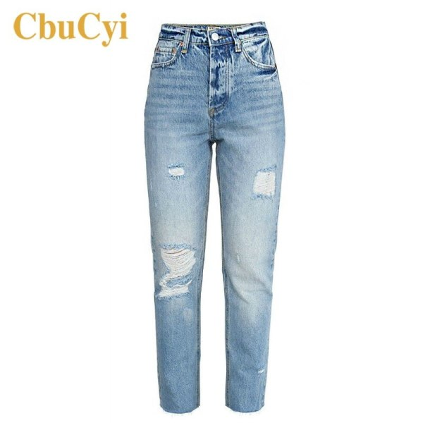 Ladies Excessive Waist Denims Pants Blue Comfortable Cotton Denim Jeans