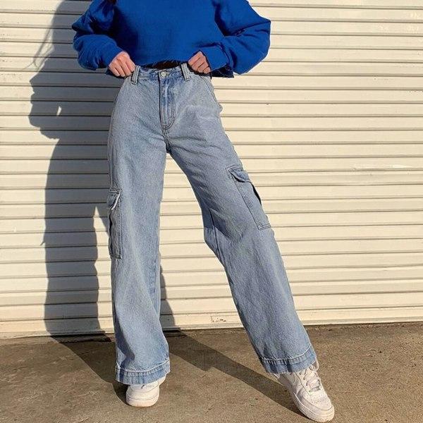 Waist Denims Girls Streetwear Straight Jean Femme Blue