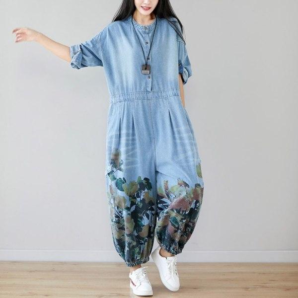 Denims Girl Excessive Waist Lengthy Sleeves Rompers
