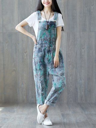 Suspender Jumpsuits Ladies Classic Free Denim Overalls