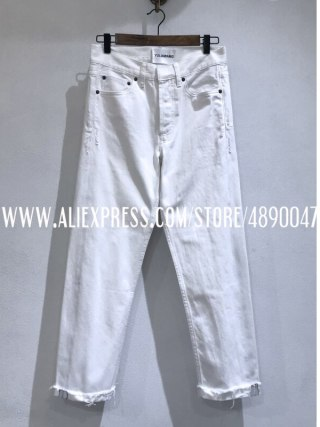 Cotton white denims lady straight denims