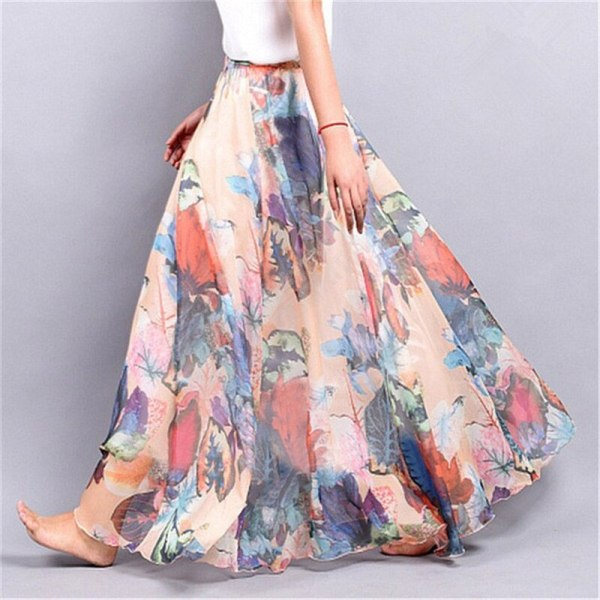 Maxi Skirts Girls Lengthy Skirt Chiffon Saia Seashore Excessive