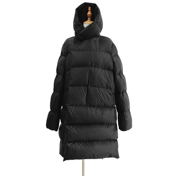 Lengthy Parka Ladies Black Down Jacket Feminine Winte